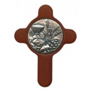 "Communion Pewter Medal with Brown Wood Cross cm.6.5x8.5 - 2 1/2""x3 1/3"""