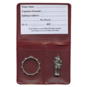 "Pouch with St.Christopher Pocket Statue mm.25 - 1"" and Rosary Ring mm.25- 1"""