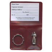 "Pouch with Divine Mercy Pocket Statue mm.25 - 1"" and Rosary Ring mm.25- 1"""