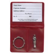 "Pouch with St.Anne De Beaupre Pocket Statue mm.25 - 1"" and Rosary Ring mm.25- 1"""