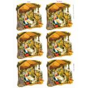 """Nativity 6 Stickers cm.12x16 - 5""""x6"""""""