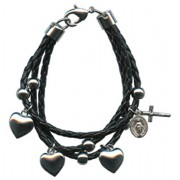 Black Synthetic Leather Bracelet Solid Silver Heart Charms Gift Boxed