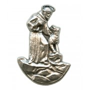 St.Francis Lapel Pin Pewter mm.21 - 3/4""