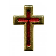 Gold Plated Flat Cross with Red Enamel Lapel Pin cm.2 - 3/4""