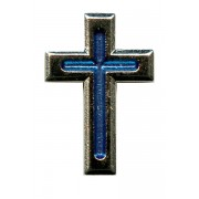 Nickel Plated Flat Cross with Blue Enamel Lapel Pin mm.20 - 3/4""