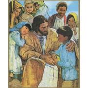 "Jesus and Children Plaque cm.25.5x20.5 - 10""x8 1/8"""