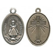 Infant of Prague Oxidized Oval Medal mm.22- 7/8""