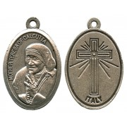 Mother Theresa Oxidized Oval Medal mm.22- 7/8""