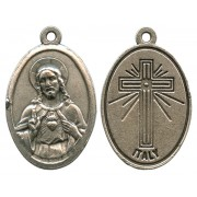 Sacred Heart of Jesus Oxidized Oval Medal mm.22- 7/8""