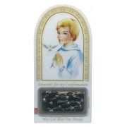 "English Boy Confirmation Set mm.120x60 -4 3/4""x2 1/4"" with Rosary RL21MA-3 (Black)"