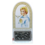 "French Boy Confirmation Set mm.120x60 -4 3/4""x2 1/4"" with Rosary RL21MA-3 (Black)"
