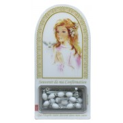 "French Girl Confirmation Set mm.120x60 -4 3/4""x2 1/4"" with Rosary RL21MA-4 (White)"