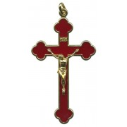 Ruby Red Gold Plated Pocket Crucifix mm.75 - 3""