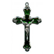 Crucifix Nickel Plated with Emerald Enamel mm.58 - 2 1/4""