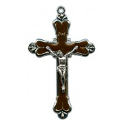 Crucifix Nickel Plated with Brown Enamel mm.58 - 2 1/4""