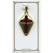 Cross Pendent Gold Plated with Red Enamel mm.25 - 1""