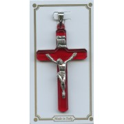 Ruby Red Lucite Pocket Crucifix mm.38- 1 1/2""