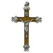 Brown Lucite and Pewter Crucifix mm.75 - 3""