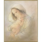 "Mother and Child Plaque cm.25.5x20.5 - 10""x8 1/8"""