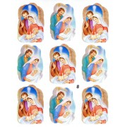 "Holy Family 9 Stickers cm.12x16 - 5""x6"""