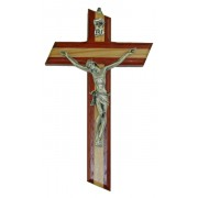 Crucifix Olive Wood with Paduk Wood Silver Plated Corpus cm.16 - 6 3/4""