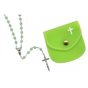 Emerald mm.6 Plastic Crystal Looking Rosary Aurora Borealis with Matching Pouch