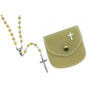 Topaz mm.6 Plastic Crystal Looking Rosary Aurora Borealis with Matching Pouch