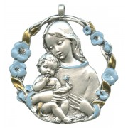 Mother and Child Pewter Medal Silver Plated Blue and Gold cm.6.5