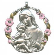 Mother and Child Pewter Medal Silver Plated Pink and Gold cm.6.5