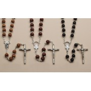 "Wood Rosaries Natural Brown and Black, cm.43 - 17"" Round Bead mm. .7 - 1/4"""