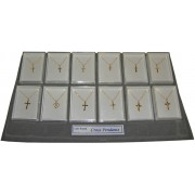 Gold Plated Crosses with Chains 12 Piece Display