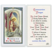 "Communion Prayer Girl English Text Prayer Card cm.6.6x 11.5 - 2 1/2""x 4 1/2"""