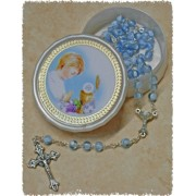 Blue Communion Rosary with Communion Rosary Box