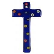 """Blue Murano Glass Cross with Murrine cm.16- 6 1/4"""""""
