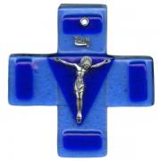 "Pewter Corpus Murano Glass Crucifix cm.12.5- 5"""