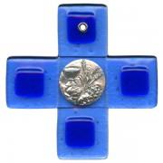 "Communion Pewter Corpus Murano Glass Crucifix cm.12.5- 5"""