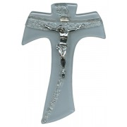 "White Murano with Silver Murano Inlay Crucifix cm.16 - 6 1/4"""