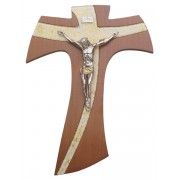 """Brown Wood with Silver Murano Inlay Crucifix cm.21 - 8 1/4"""""""
