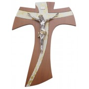 """Brown Wood with Gold Murano Inlay Crucifix cm.20- 8"""""""