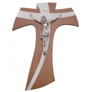 """Brown Wood with Silver Murano Inlay Crucifix cm.20 - 8"""""""