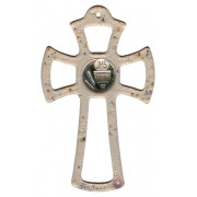 """Murano Glass Cross Pink with Chalice cm.16- 6 1/4"""""""