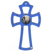 """Murano Glass Cross Blue with Chalice cm.16- 6 1/4"""""""