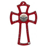 """Murano Glass Cross Red with Dove cm.16- 6 1/4"""""""