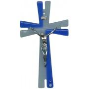 """Modern 2 Tone Murano Glass Crucifix cm.26 - 10 1/4"""""""