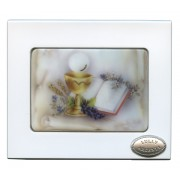 "White Rosary Box with Murano Inlay Communion cm.10x12- 4""x 4 3/4"""