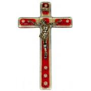 """Red Murano Crucifix cm.9.5x16 - 3 3/4""""x 6 1/4"""""""