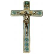 """Light Blue Murano Crucifix cm.9.5x16 - 3 3/4""""x 6 1/4"""""""