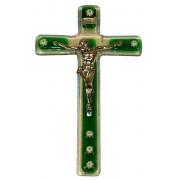 """Green Murano Crucifix cm.9.5x16 - 3 3/4""""x 6 1/4"""""""