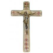 """Pink Murano Crucifix cm.9.5x16 - 3 3/4""""x 6 1/4"""""""