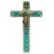 """Aqua Murano Crucifix cm.9.5x16 - 3 3/4""""x 6 1/4"""""""